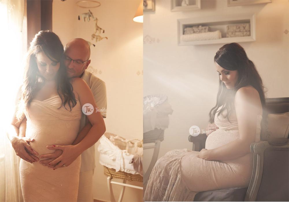 foto embarazada vestido luz